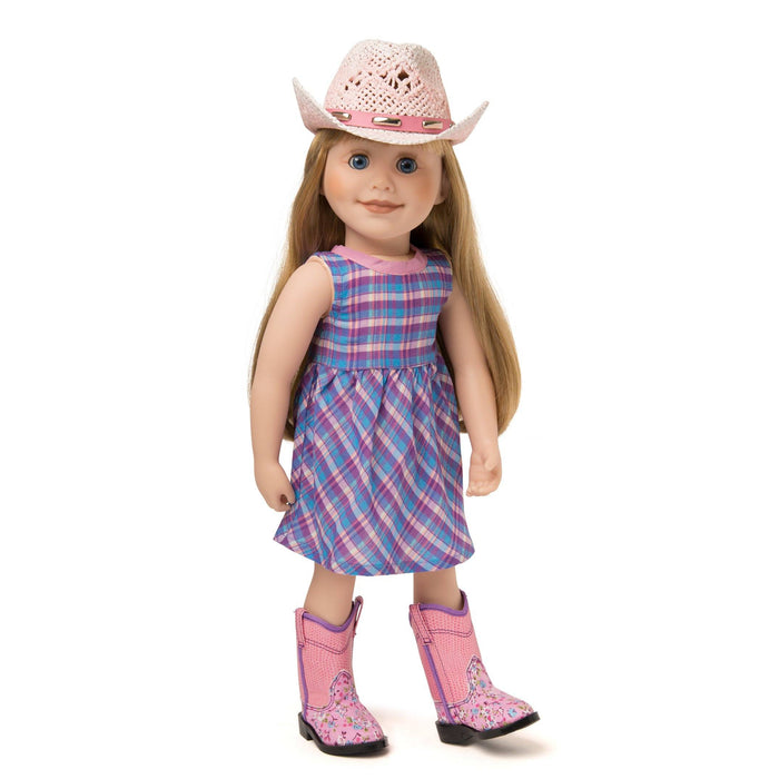 Plaid pink, purple and blue sundress, pink ombre straw cowboy hat, floral pink cowboy boots fits all 18 inch dolls.