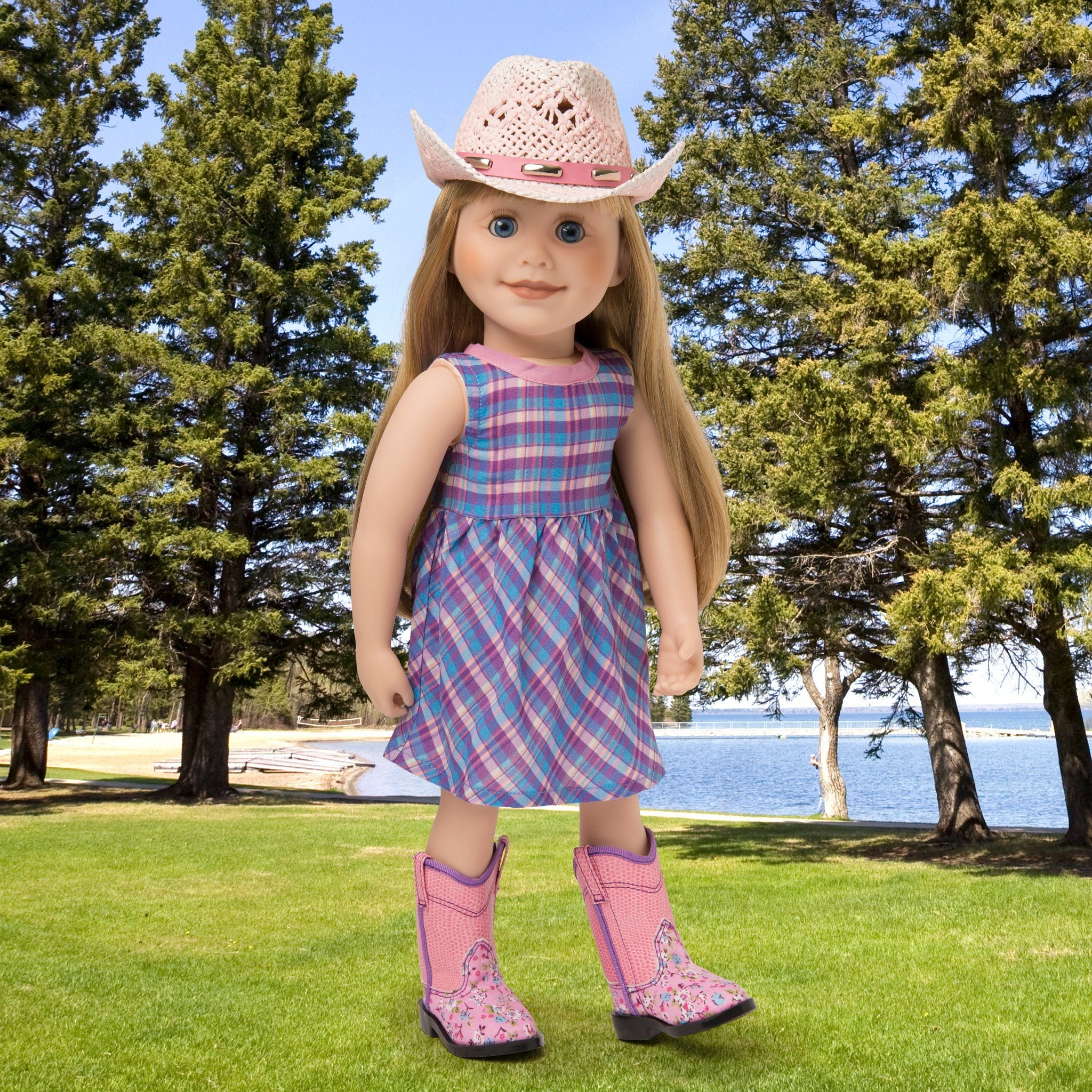 Plaid pink, purple and blue sundress, pink ombre straw cowboy hat, floral pink cowboy boots fit all 18 inch dolls.