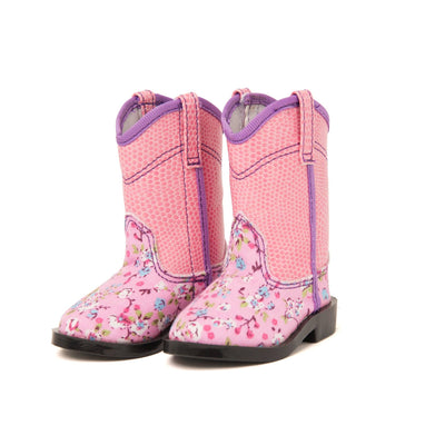 floral pink cowboy boots fit all 18 inch dolls.
