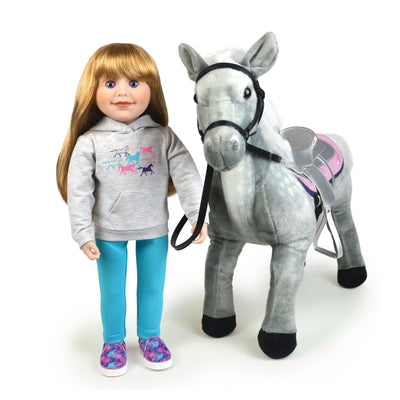 18 inch Canadian Girl doll wearing happy horse Hoodie set grGrey hoody set with colourful galaxy print slip-on shoes aqua leggings and Chinook horse.