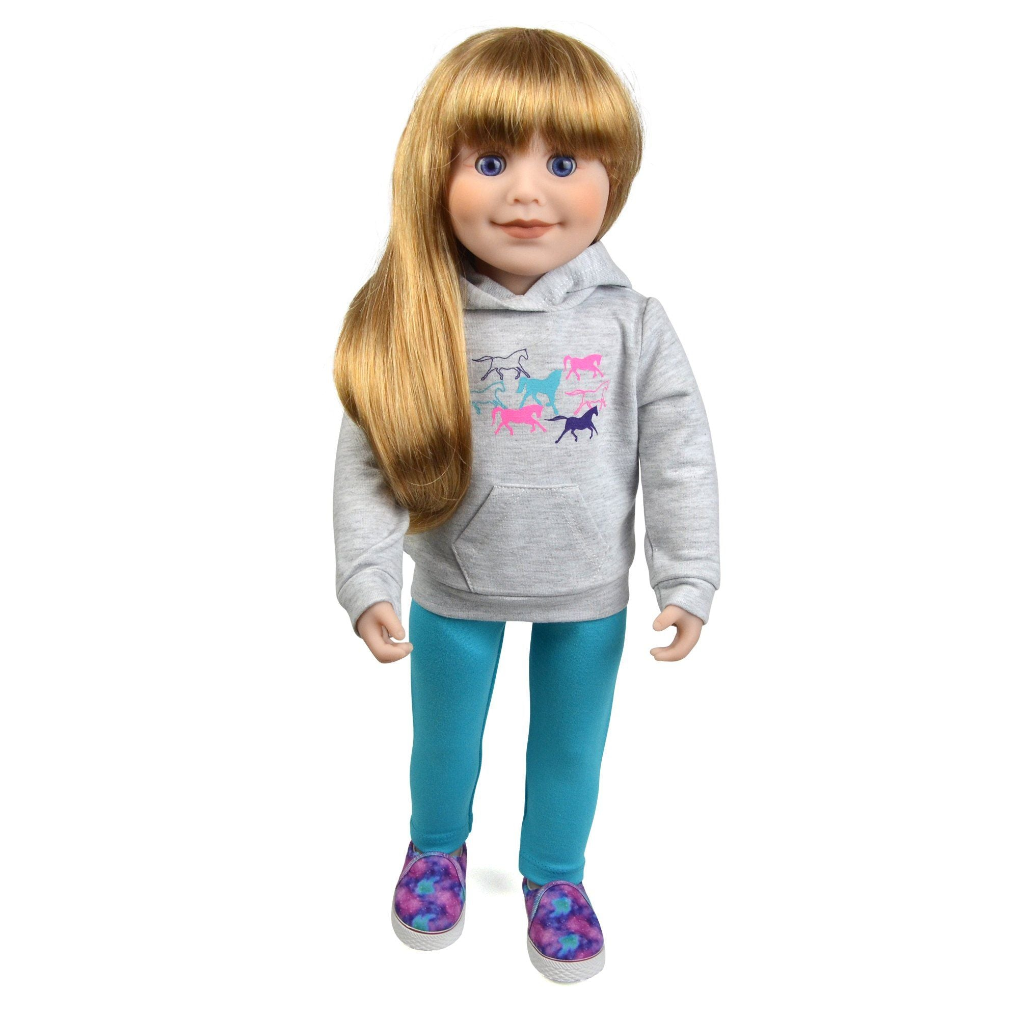 18 inch doll wearing grey horse print hood, colourful slip-on shoes, aqua leggings Maplelea