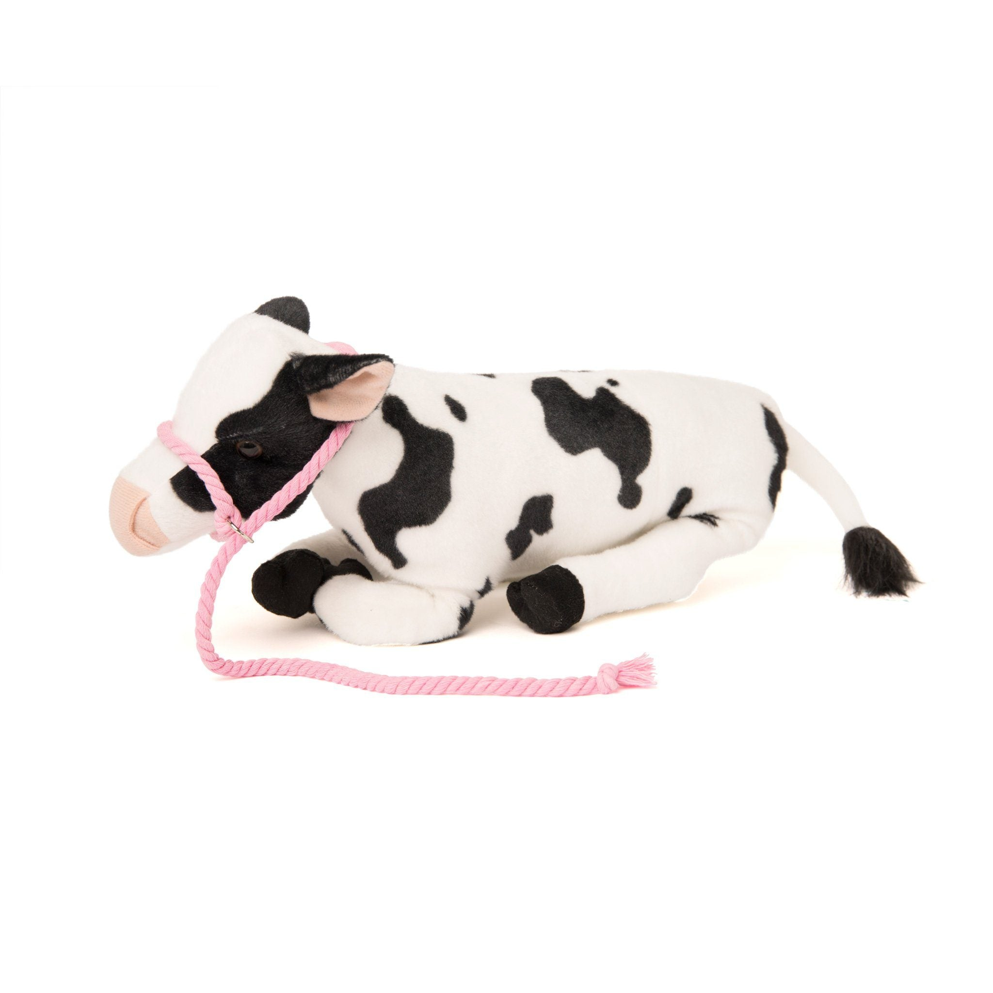 "Plush poseable high quality cow with pink halter. Fits all 18"" dolls. Maplelea.com"