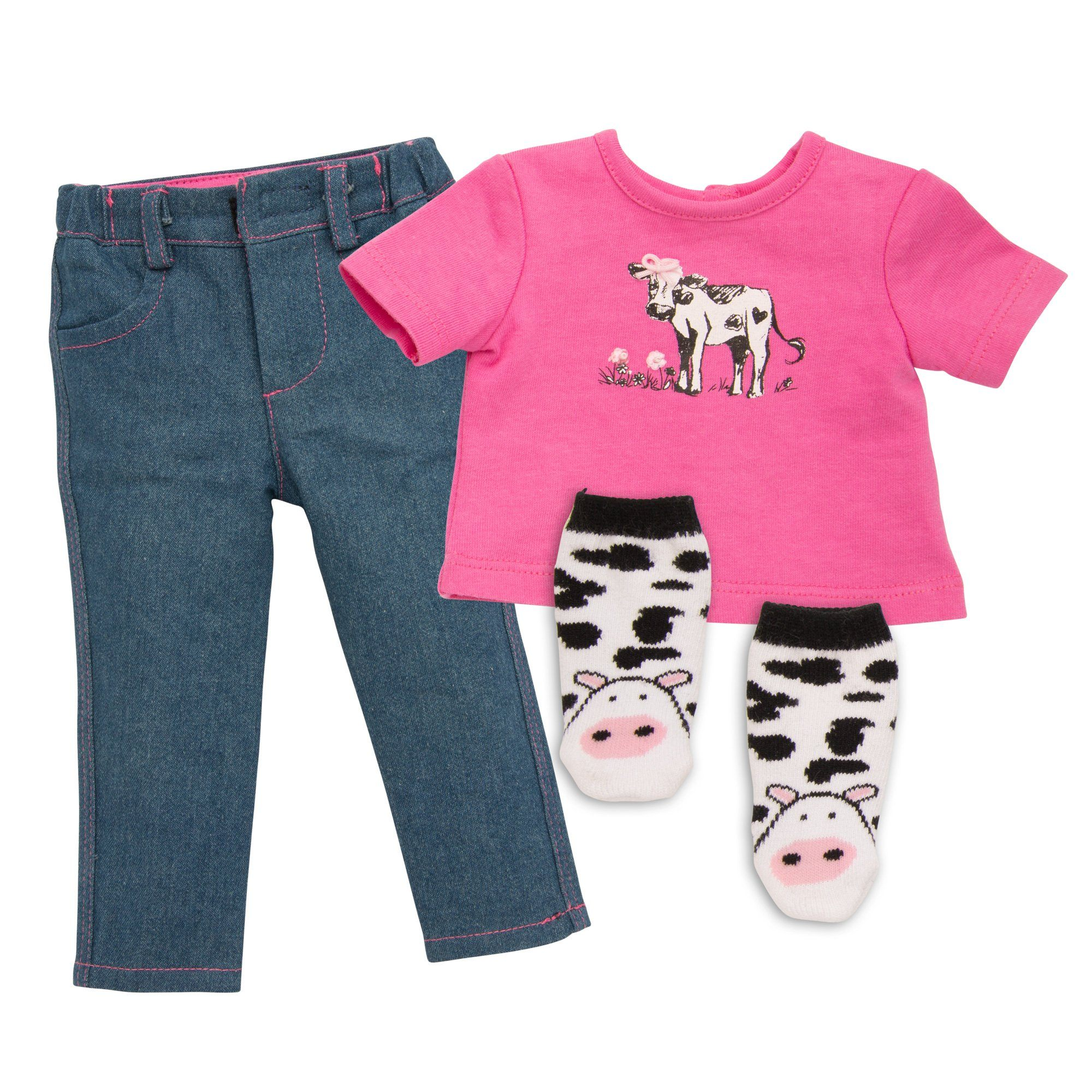 Pink t-shirt with cow graphic, denim jeans and cow-print socks fits all 18 inch dolls. Maplelea.com