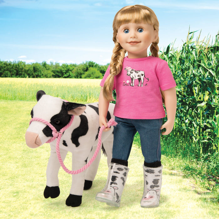 "Plush poseable cow, pink t-shirt, jeans and cow-print socks fit all 18"" dolls. Maplelea.com"