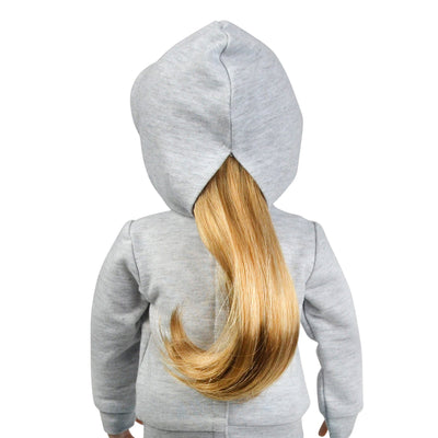 Grey horse themed hoodie on 18 inch Maplelea Canadian Girl doll.