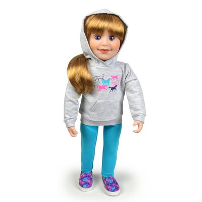 18 inch Canadian Girl doll wearing horse hoodie with colourful slip-on shoes aqua leggings.