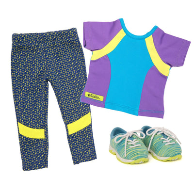 print leggings, color block t-shirt and sneakers fits all 18 inch dolls