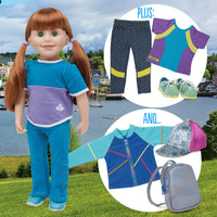 Maplelea 18 inch doll Jenna wearing blue track pants, purple and blue colour block t-shirt, blue running shoes and white athletic socks, plus NEW starter outfit geometric leggings, t-shirt and sports energy pack with iridescent backpack mesh jacket and floral hat.