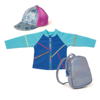 Satin baseball cap with floral pattern, mesh jacket and backpack fits all 18 inch dolls.