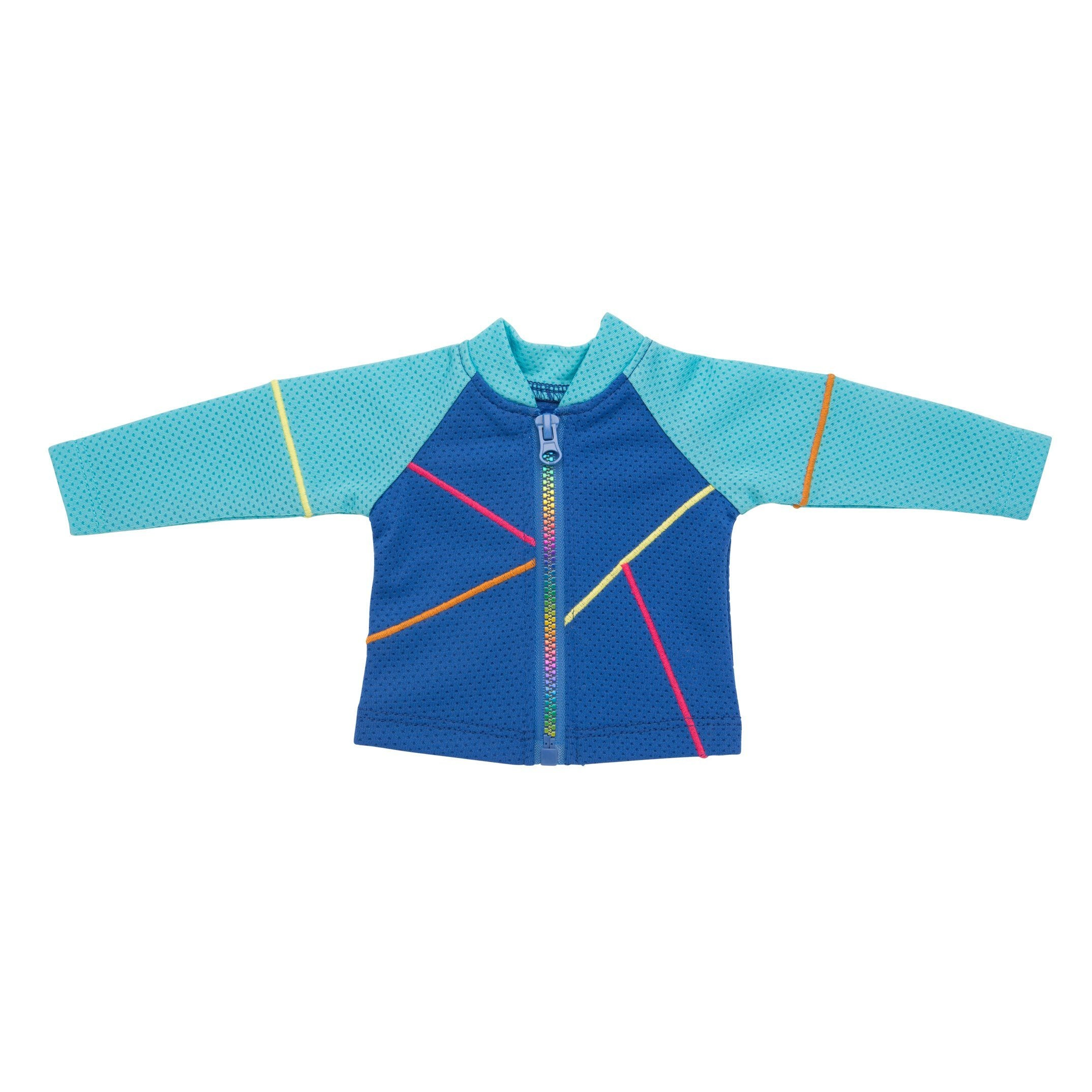 Blue mesh jacket with colourful stitching and rainbow zipper fits all 18 inch dolls.
