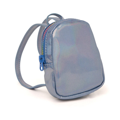 blue iridescent backpack fits all 18 inch dolls.
