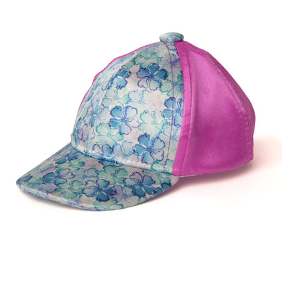 Satin baseball cap with floral pattern fits all 18 inch dolls.