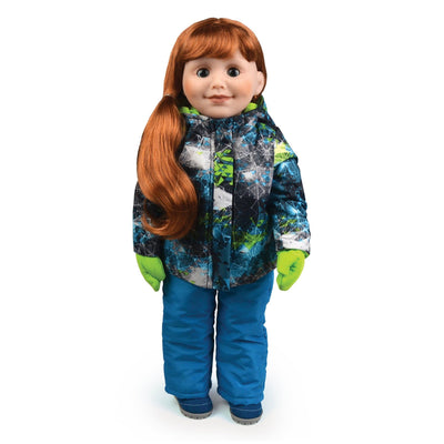Teal and bright green  winter snow suit for 18 inch dolls with techno print jacket snowpants suede boots and mittens