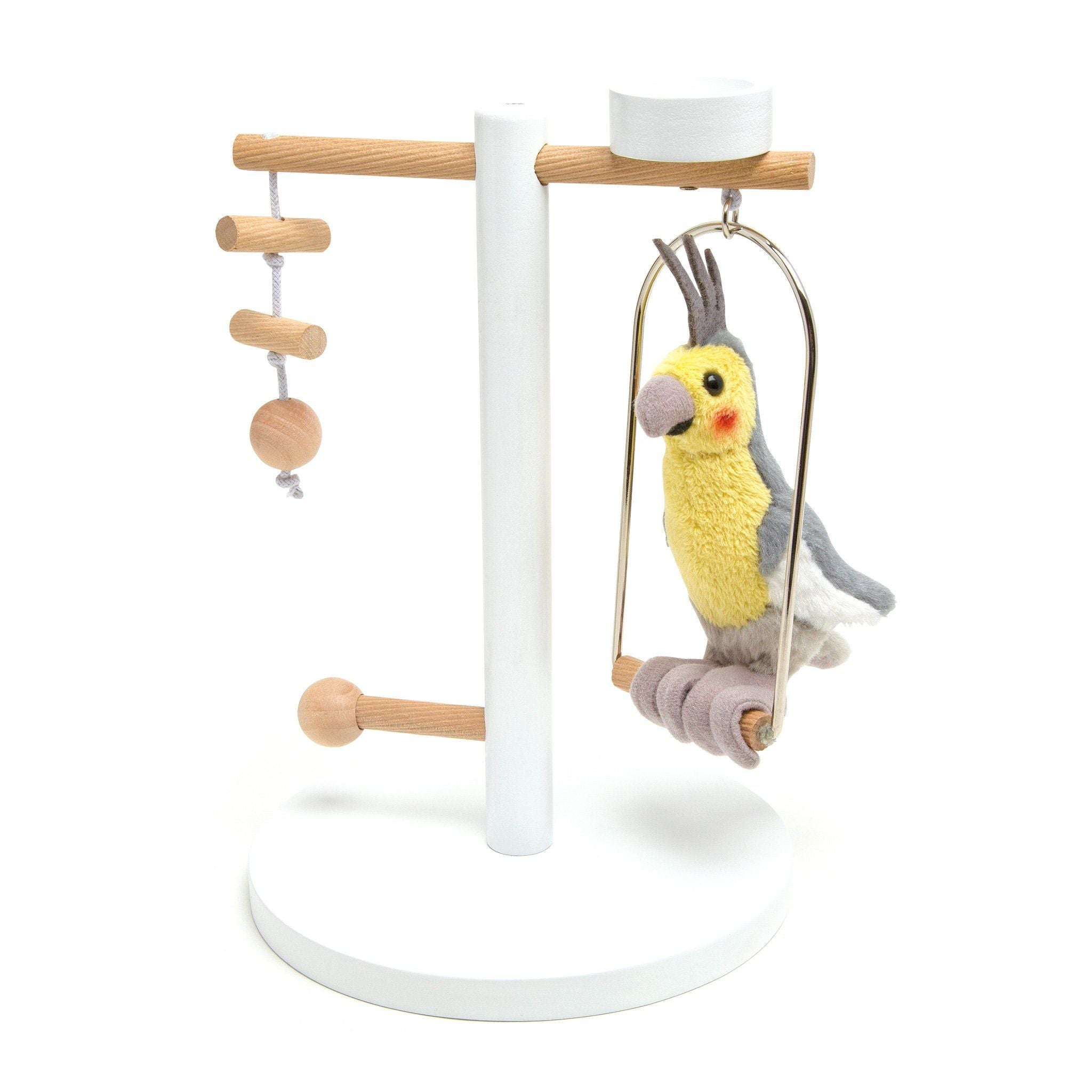 Piccolo plush cockatiel and wooden stand for all 18 inch dolls.
