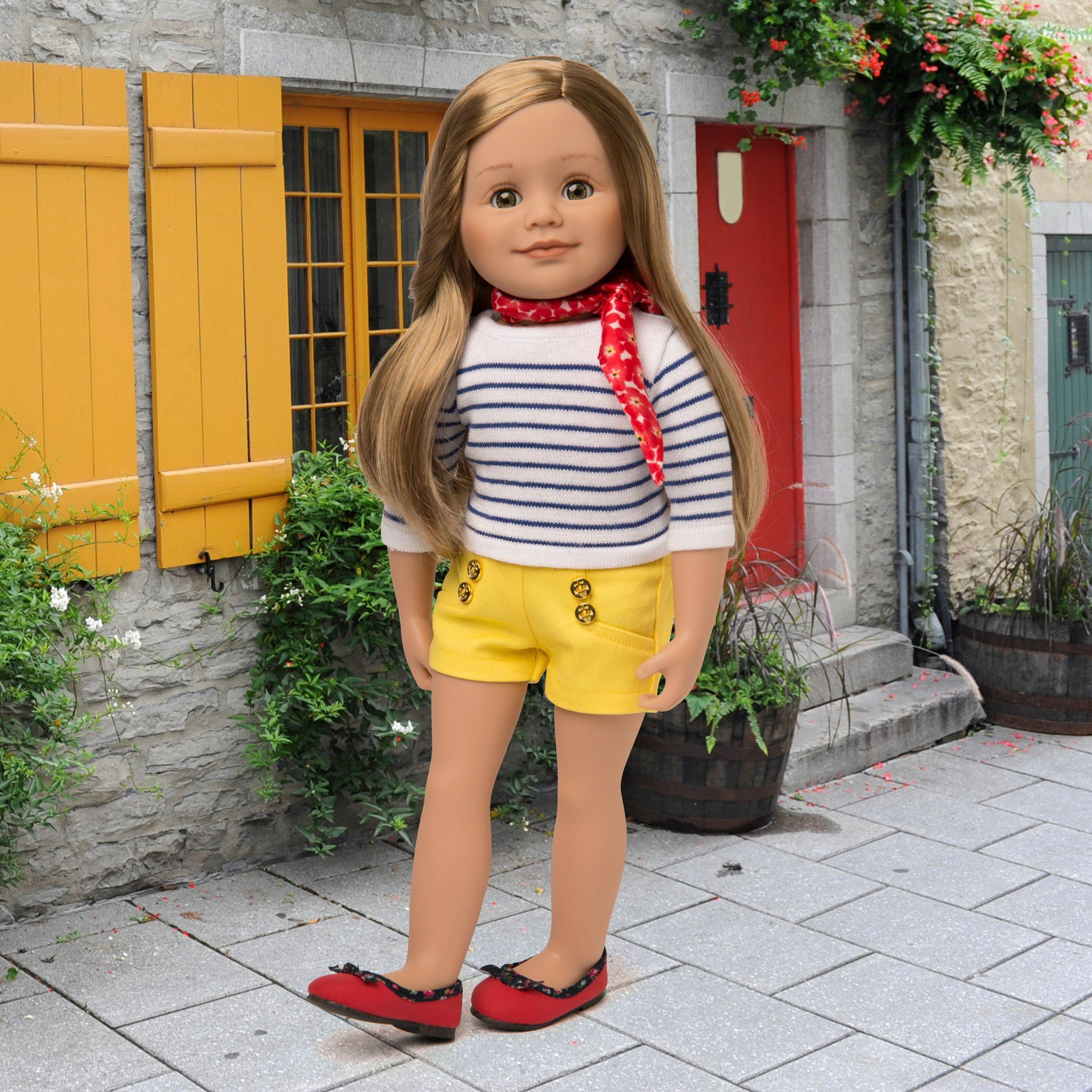 Nautical summer clothes on 18 inch doll includes sailor shorts, striped top, scarf and red shoes.