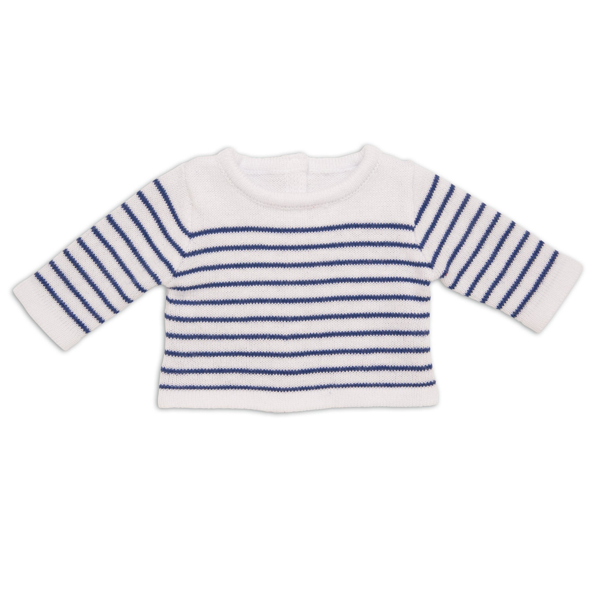 white sweater with navy blue stripes creates a nautical summer look for 18 inch dolls.