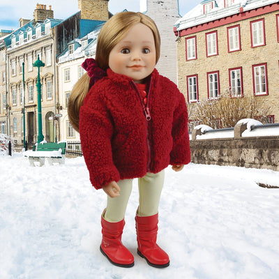 Canadian Girl doll wearing burgundy teddy jacket velvet scrunchie and leggings.