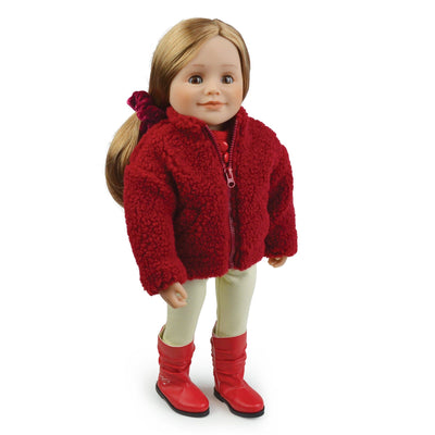 Teddy jacket made with sherpa fabric on 18 inch doll Leonie