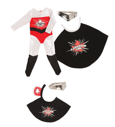 Superhero bodysuit, cape, headpiece and a cape and headpiece for her dog.