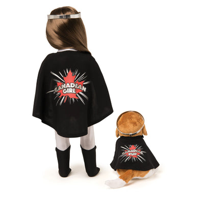 Back view of Canadian Girl Superhero costume and her Superhero Pup