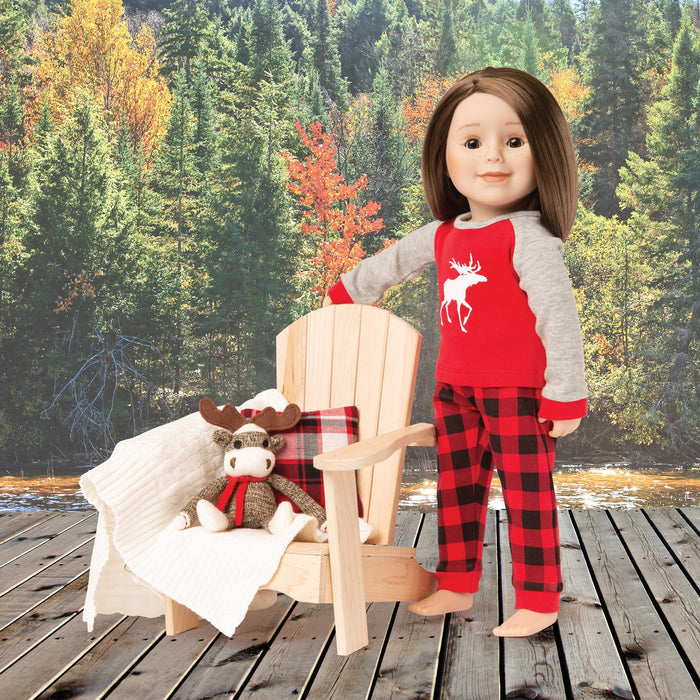 "Set includes a cable blanket, plaid pillow and sock monkey moose! For 18"" doll. Maplelea.com"