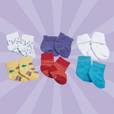 6 pairs of colourful socks fit all 18 inch dolls.