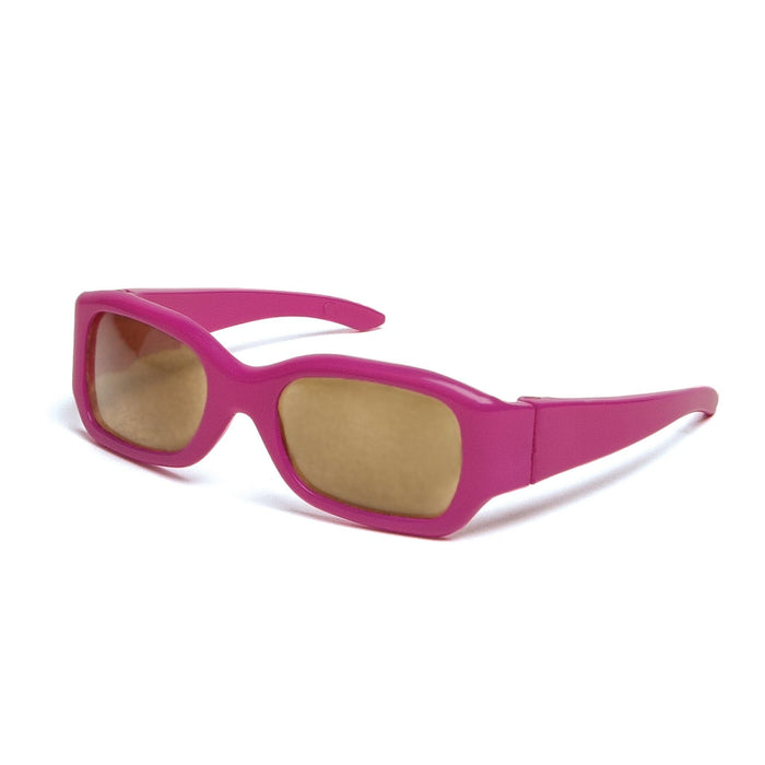Fuchsia pink sunglasses fit all 18 inch dolls.