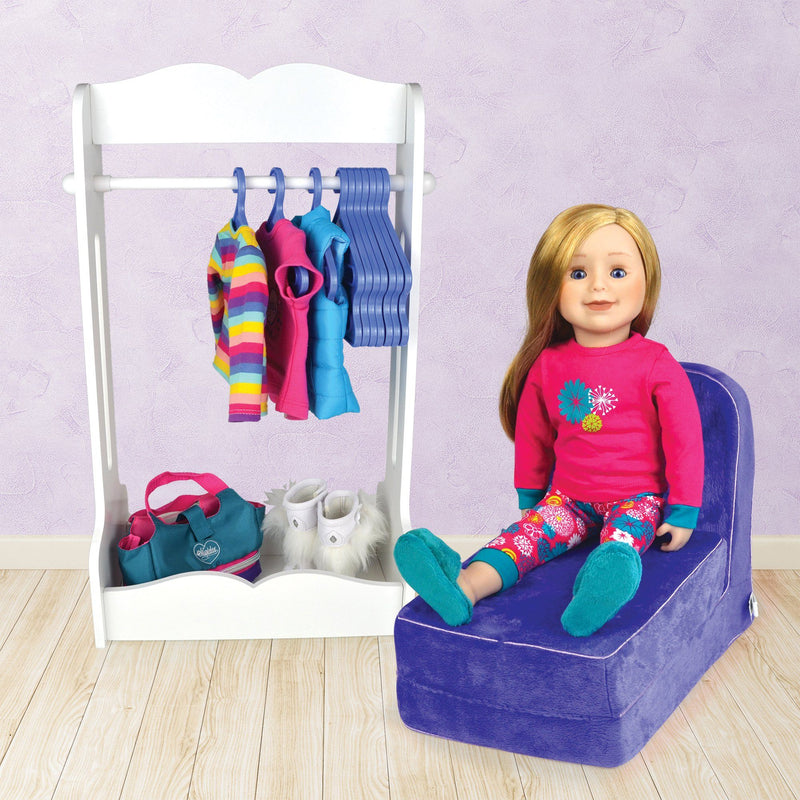 Clothing rack for 18 inch dolls with hanging bar 10 hangers and storage base