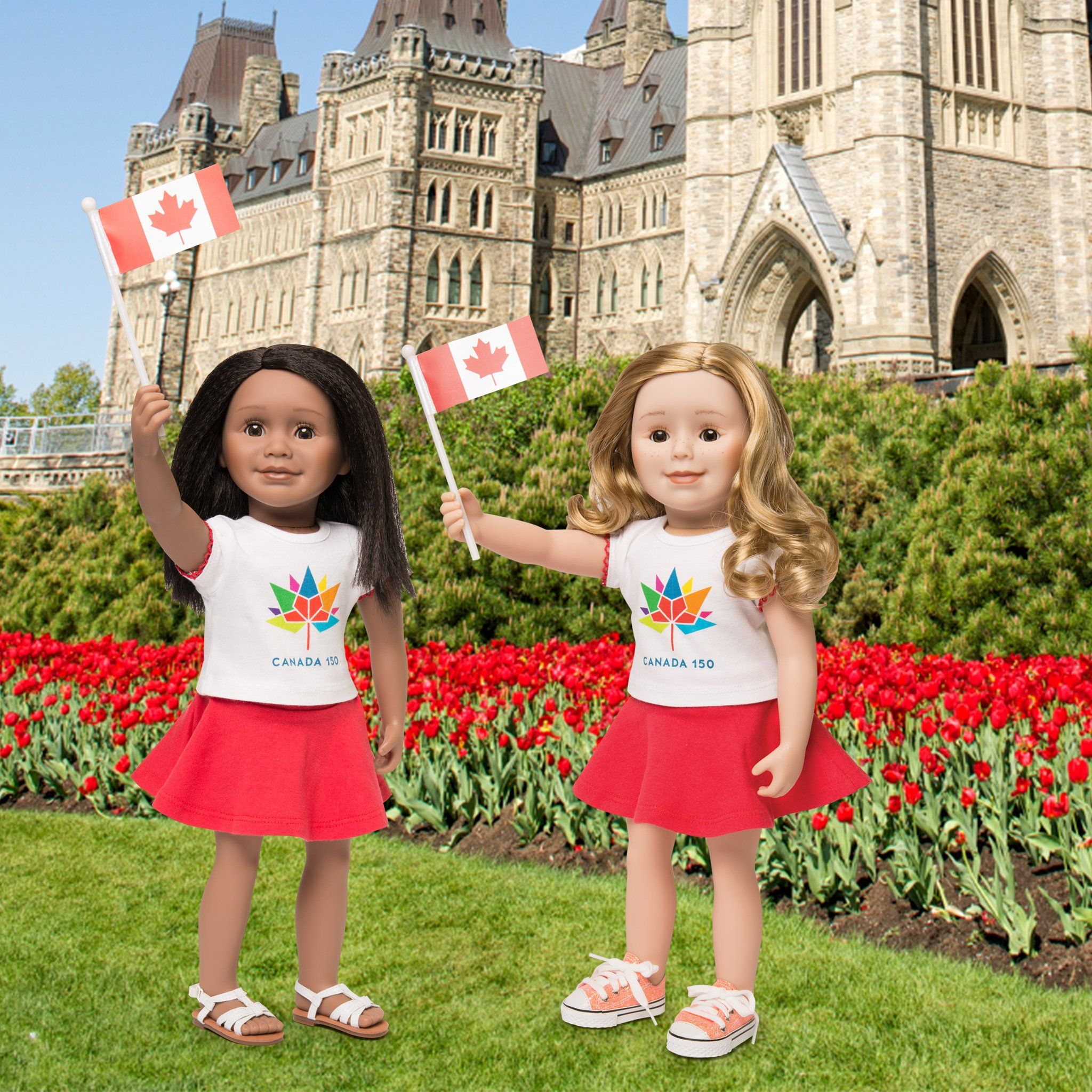 Canada 150 Outfit logo t-shirt, red skirt, Canada flag shown on Maplelea Friends dolls with Criss Cross Sandals.
