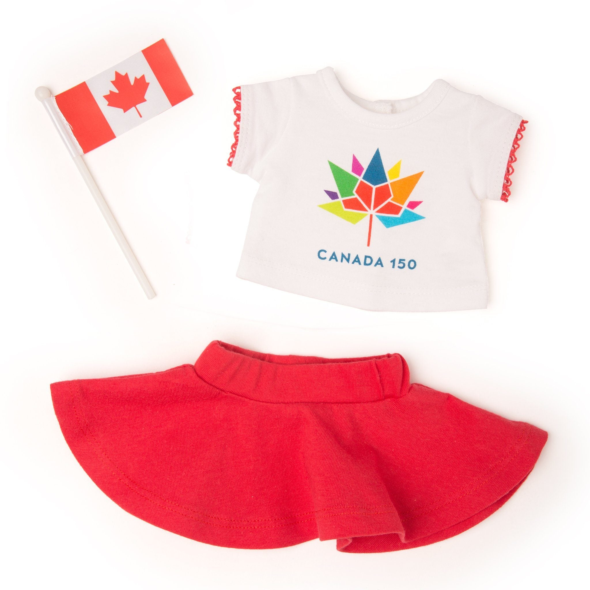 Canada 150 Outfit logo t-shirt, red skirt, Canada flag fits all 18 inch dolls.