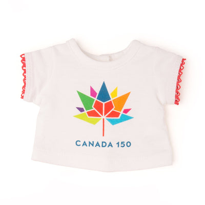 Canada 150 Logo t-shirt with red lace trim on sleeves. Fits all 18 inch dolls.