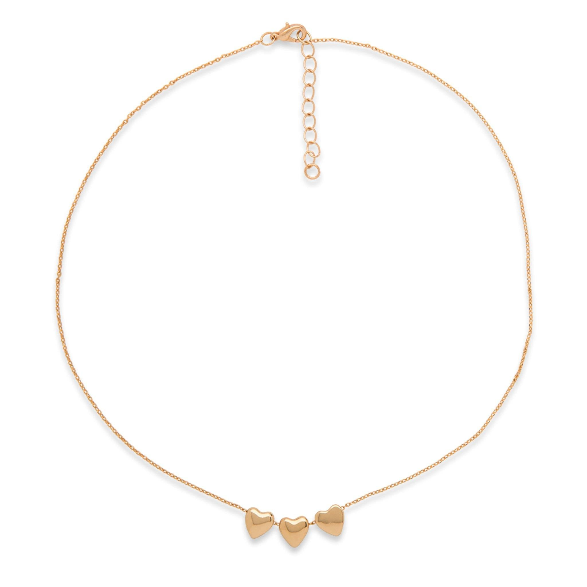 XKM158AF - Gold-Coloured Heart Necklace for Girls