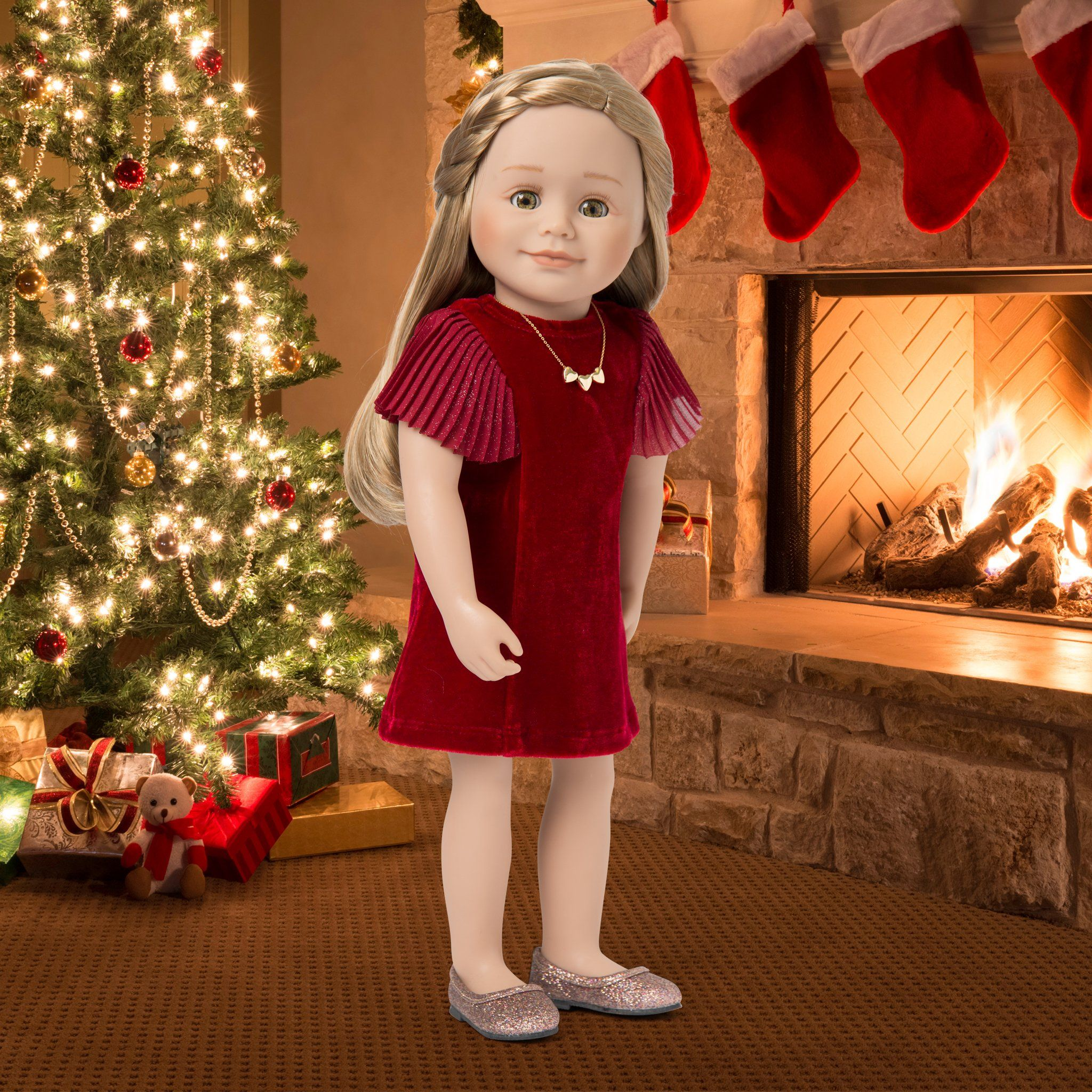 "Red dress in velvet for 18"" dolls. Includes sparkly shoes, and a heart necklace for dolls and girls."