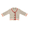 Beautiful Canaidan style cardigan sweater in grey and red for 18 inch dolls
