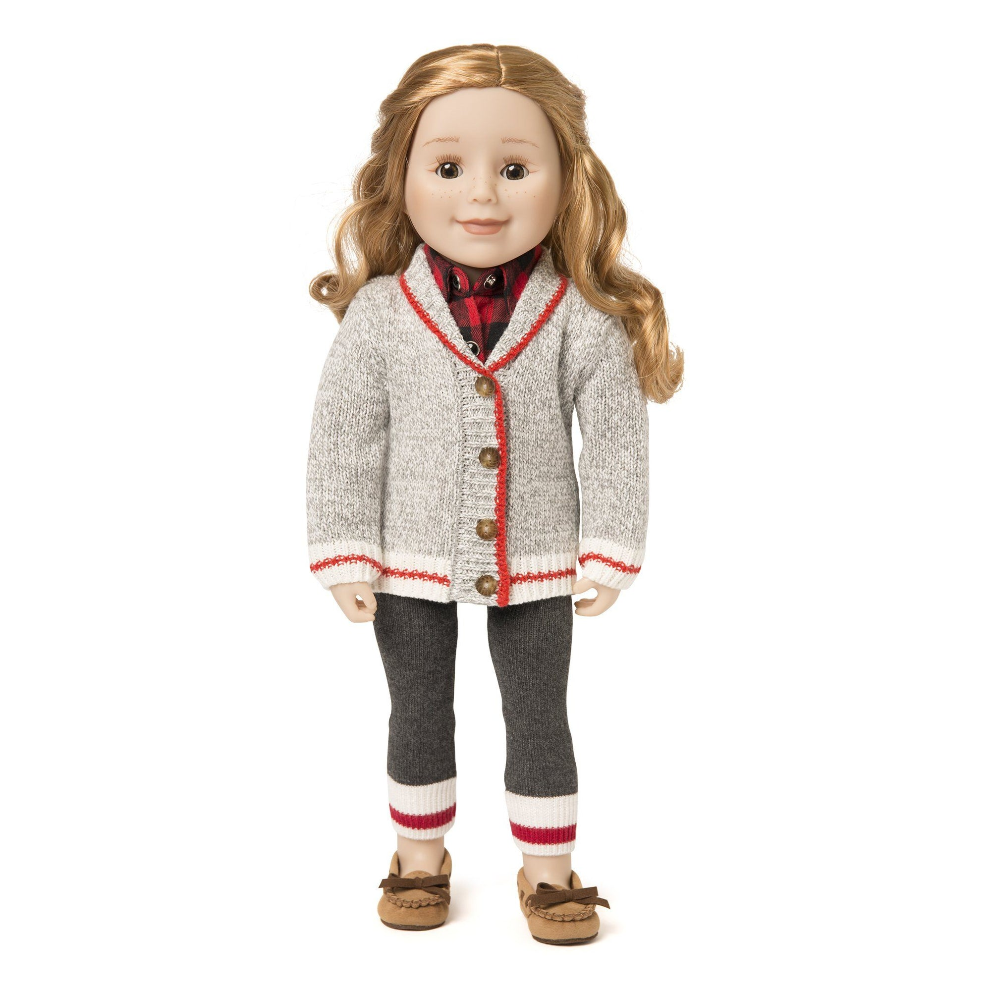 18 inch doll wearing Maplelea's Chalet Chic red and grey cardigan sweater