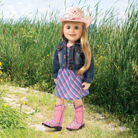 "Classic denim jean jacket gives a western look to the 18"" doll.  Great for cowgirls."