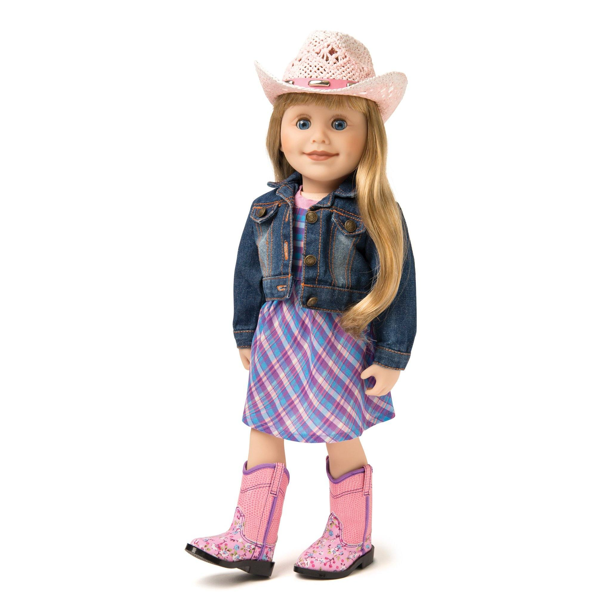 This denim jean jacket helps your 18 inch doll achieve the perfect western look.
