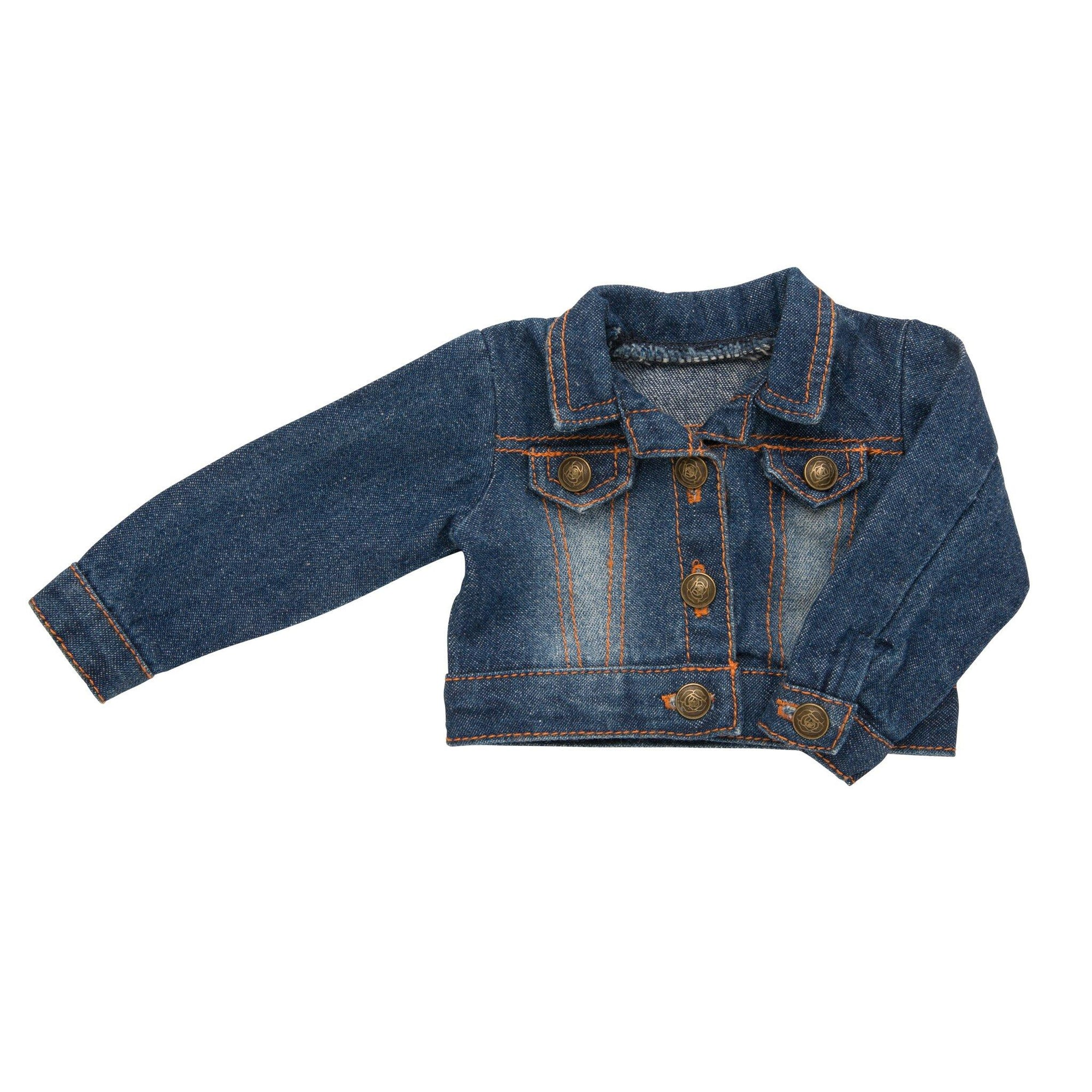 Denim jean jacket for 18 inch dolls.  Suitable for girl dolls and boy dolls.
