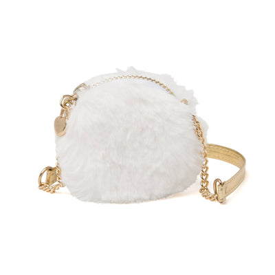 Fun fur purse with zipper and gold strap for 18 inch dolls.