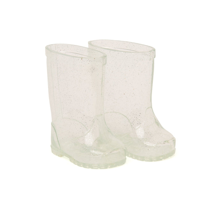 Clear sparkly rain boots fit all 18 inch dolls.