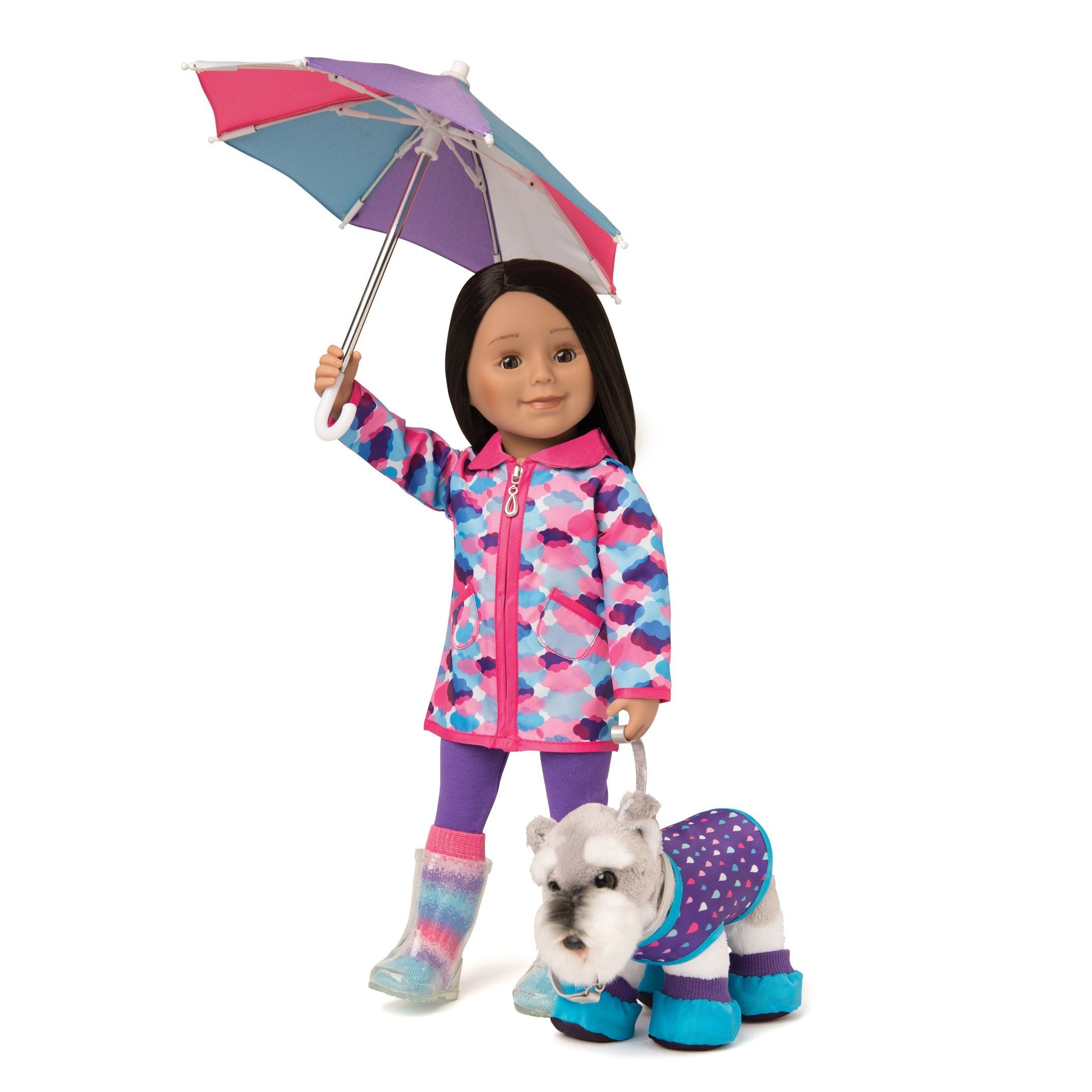 Rain jacket with cloud print and silver lining,  purple leggings, multi-coloured striped socks, purple, pink and blue umbrella fits all 18 inch dolls. Shown on Maplelea Friends doll with Jasper the schnauzer wearing a walk in the rain pet set.