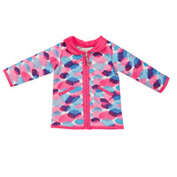 Rain jacket with cloud print and silver lining fits all 18 inch dolls.