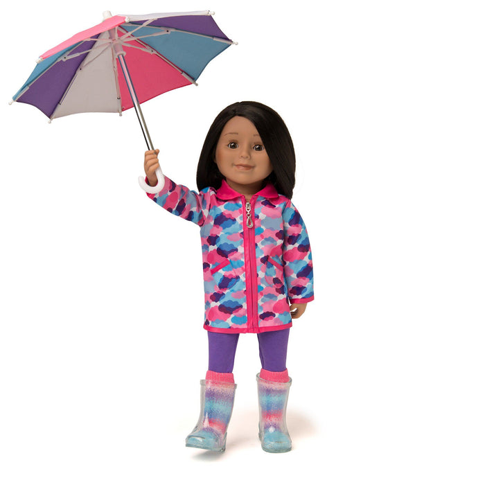 Rain jacket with cloud print and silver lining,  purple leggings, multi-coloured striped socks, purple, pink and blue umbrella fits all 18 inch dolls.
