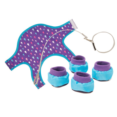 Purple dog rain jacket with raindrops, silver leash, and booties for plush dogs for 18 inch dolls.