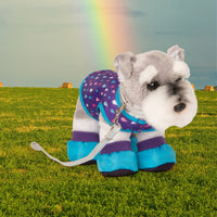 Purple dog rain jacket with raindrop pattern, silver leash, and booties for plush dogs.