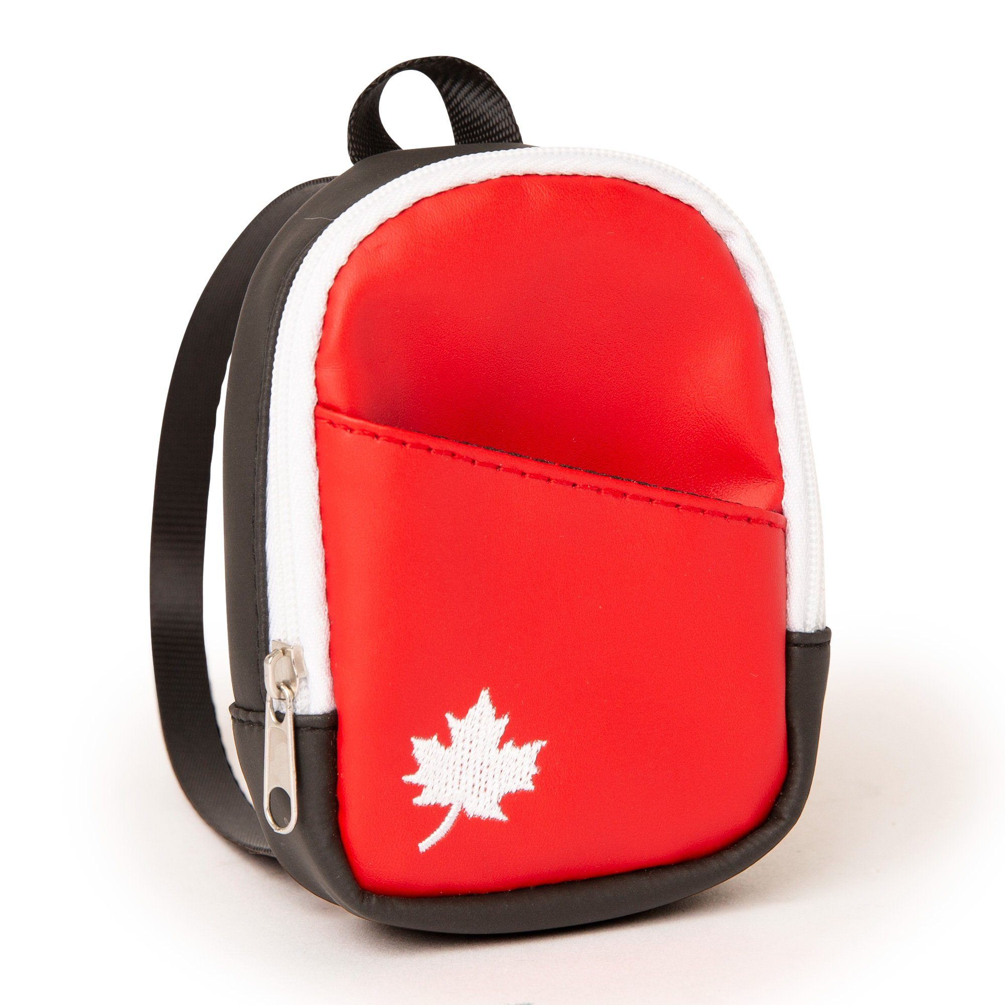 "Your 18"" doll can show High-quality Canadian backpack with an embroidered maple leaf for dolls"
