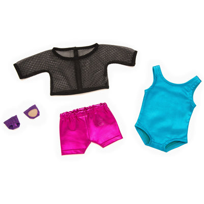 Blue metallic bodysuit, black mesh top, bright pink metallic boyshorts, purple dance paws fits all 18 inch dolls.