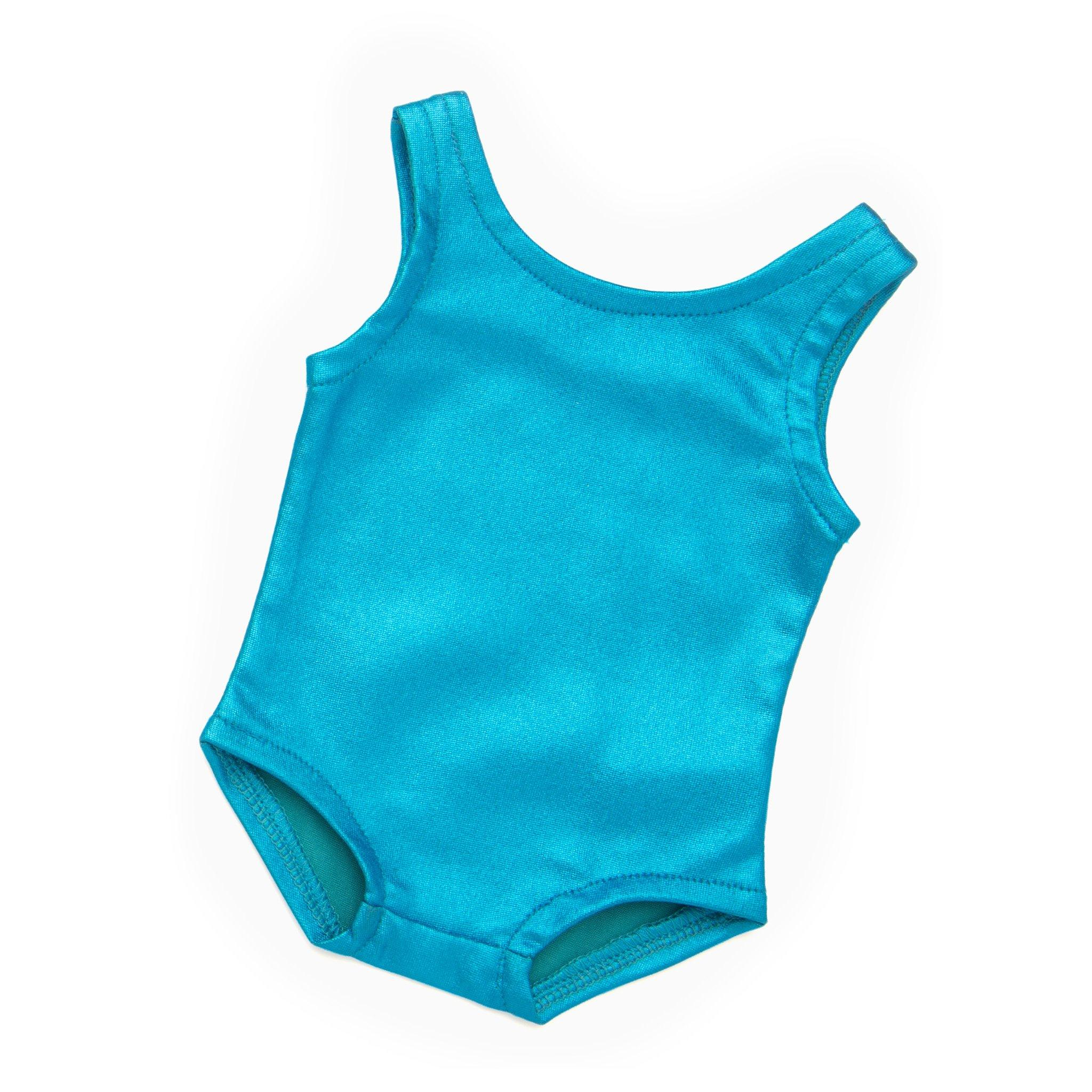 Blue metallic bodysuit fits all 18 inch dolls.