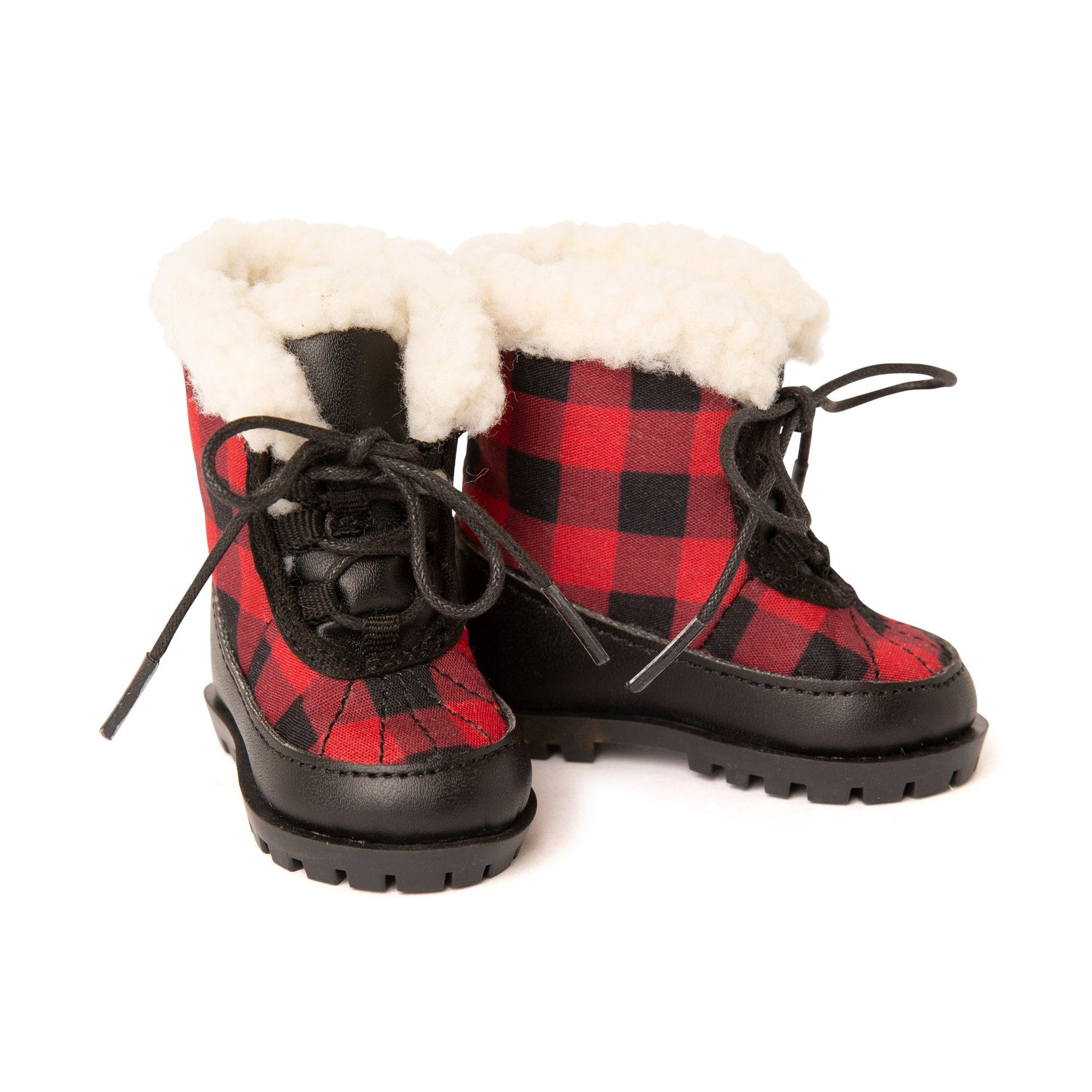 red and black plaid boots for dolls