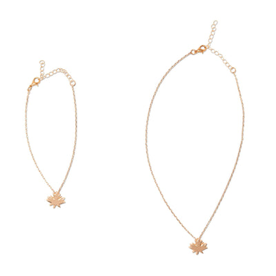 Matching rose gold-tone maple leaf necklace set for 18 inch dolls and girls